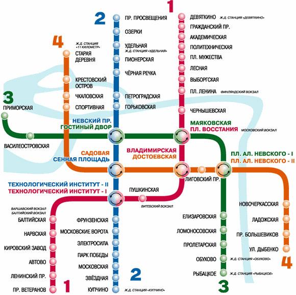 четыре линии метрополитена