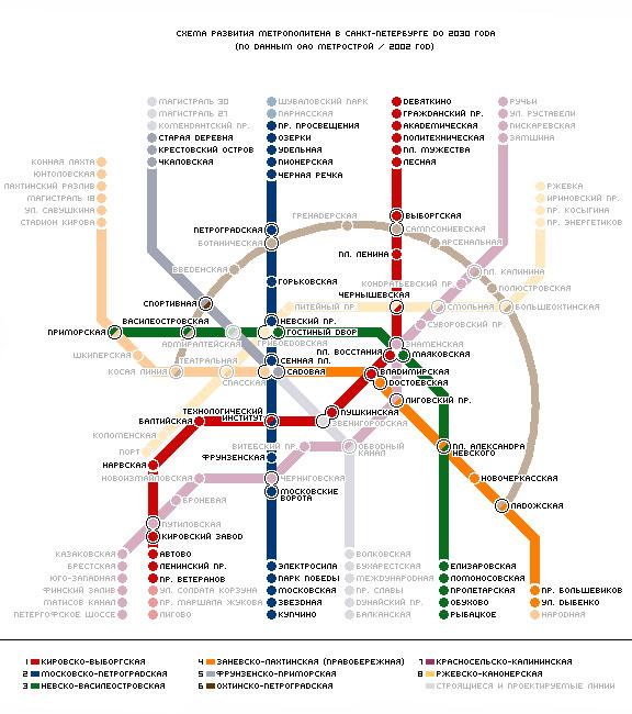 Схема развития метро в Санкт-